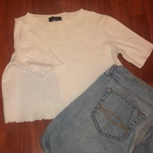 White Tee with Frill Details